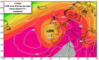 Biscay low sends warm plume to UK