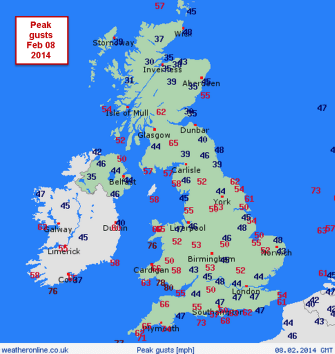 peak gusts mph : 40-50mph in SE