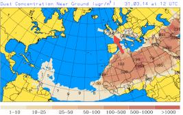 Saharan dust reaches UK on S wind