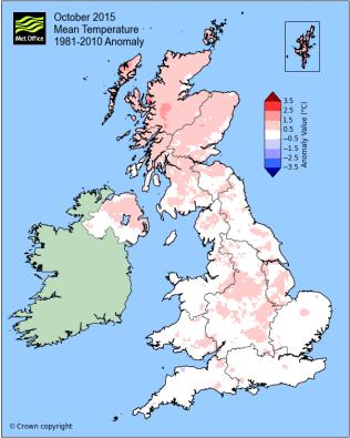 October 2015 temperature anomaly