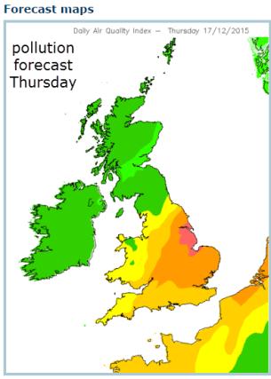 air pollution forecast UK Dec 17 2015