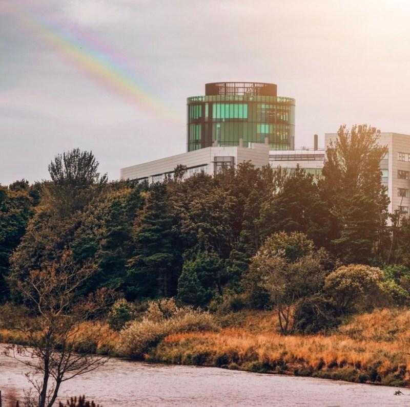 RGU campus with a rainbow