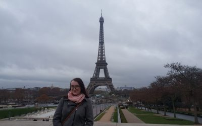 Rebecca Wheildon, a Management with HRM degree student at RGU in front of the Eiffel Tower.
