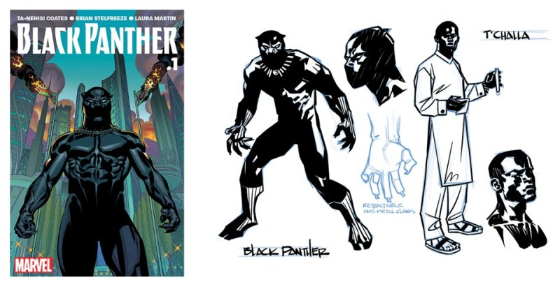 Left: The cover of Black Panther #1. Right: A concept drawing by Brian Stelfreeze that influenced the plot. (Marvel Entertainment)