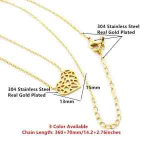 Choker Hollow Heart Necklace Stainless Steel