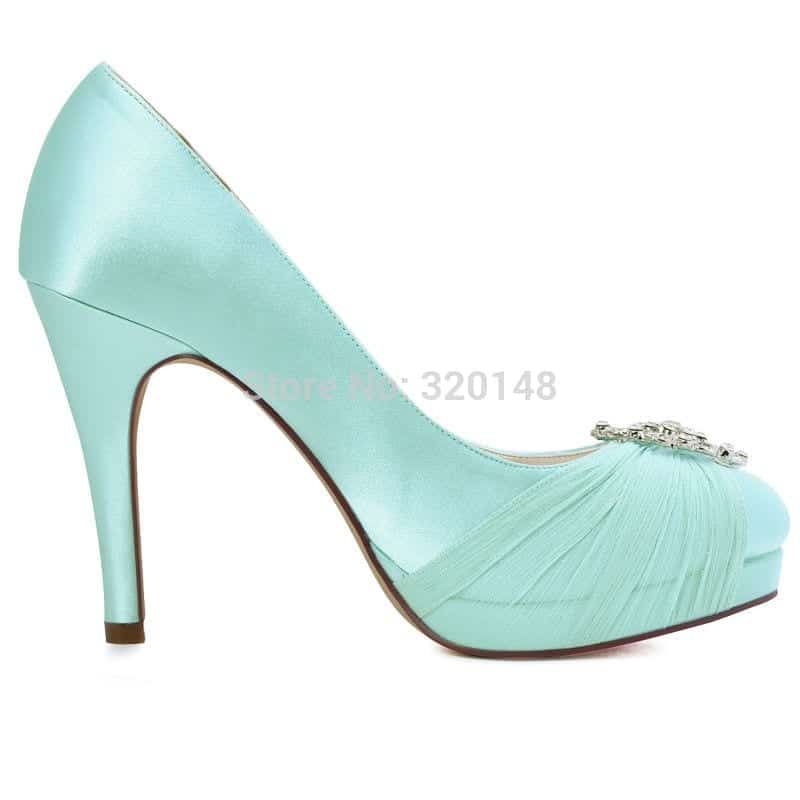 Mint High Heel Bridal Wedding Shoes Prom Party Pumps Ivory White Navy Blue