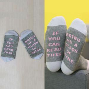 IF YOU CAN READ THIS BRING ME A GLASS OF WINE Women's Funny Socks