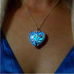 Magic Creative Glow In Dark Luminous Necklace Pendant Love Heart Hollow Out Vintage