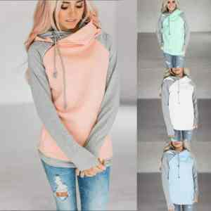 Womens Hoodie Jumper Patchwork Long Sleeve Pullover