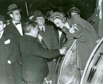 Mayor LaGuardia greets a flight attendant.