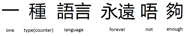 一 種 語言 永遠 唔 夠 one type(counter) language forever not enough