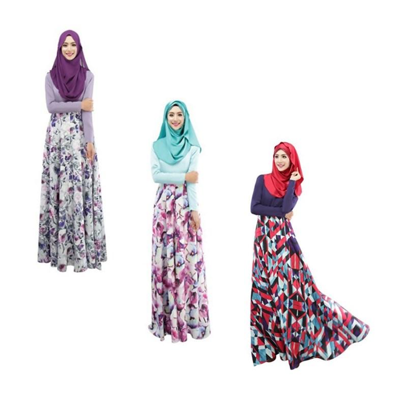 Weixinbuy Islamic Muslim Abaya Women Floral Maxi Partywear Dresses M