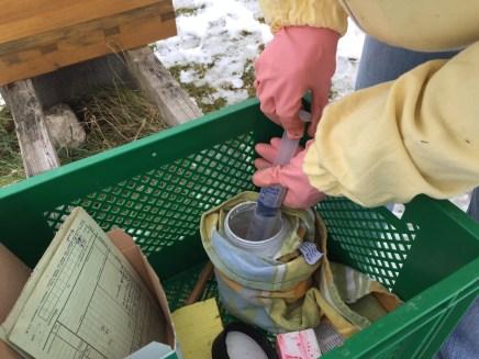 Varroa-Behandlung mit handwarmer Oxalsäurelösung