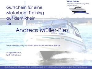 Gutscheine für Rhein Trainer Ausbildung und Events - Gutschein-Motorboottraining