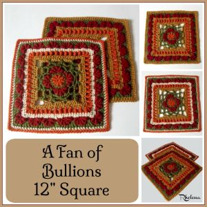 "A Fan of Bullions 12"" Afghan Square by CrochetN'Crafts"