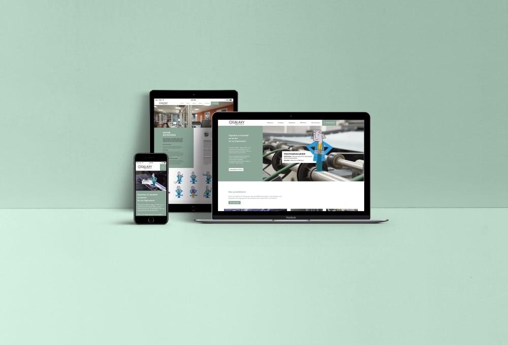 Rhetorike a créer un site dynamique et responsive, tant dans les contenus web que dans la création graphique, pour Galaxy Imprimeurs.