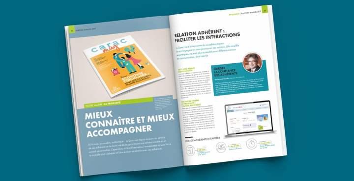 Les ouvertures des différentes parties du rapport annuel font également référence aux mises en page de magazine
