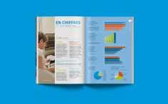 Des pages purement graphiques permettent de dynamiser la maquette et donc la lecture du rapport annuel