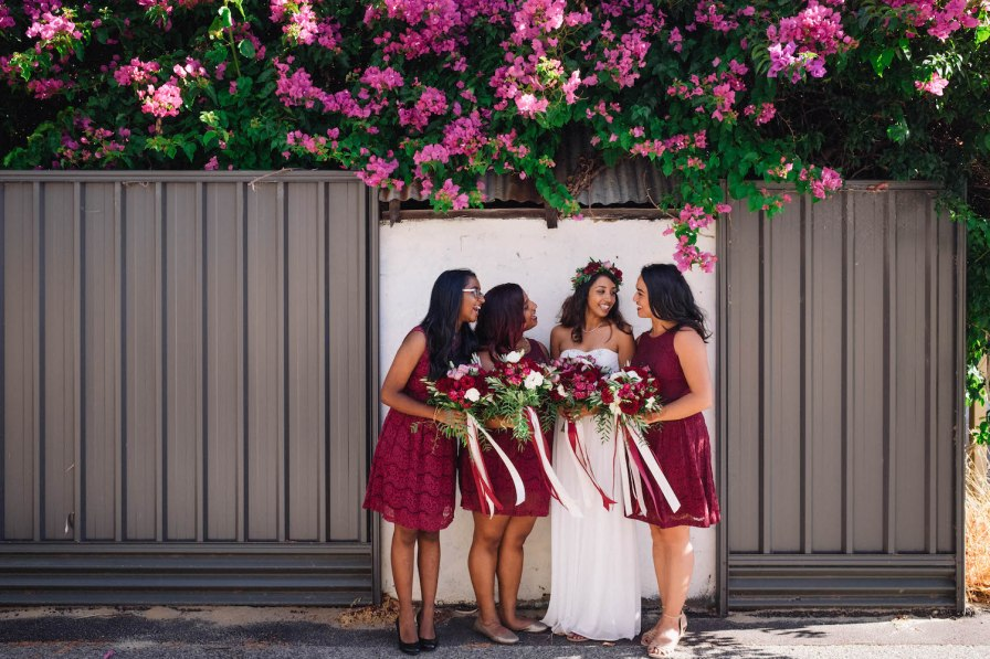 The bride & her maids under a bougainvillea in a Subiaco laneway, Perth, Australia.