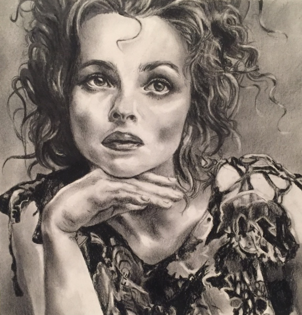 Helena Bonham Carter pencil portrait