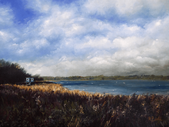 oil painting landscape estuary clouds river pin mill