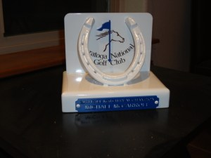 Here's a custom trophy we built for a tournament at Saratoga National.