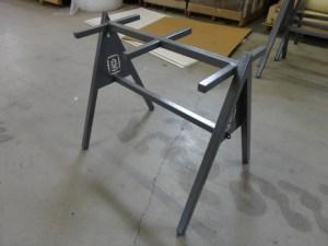 Powdercoated steel bag stand.