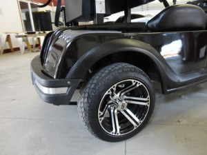 Low profile tires and custom rims.