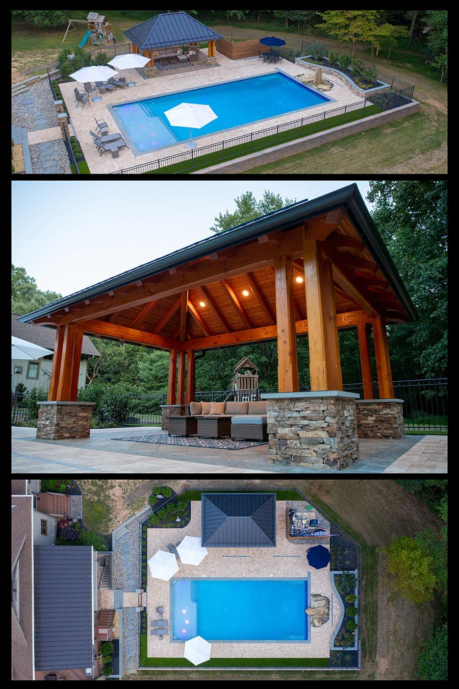 natural wood stone pavilion builder near me