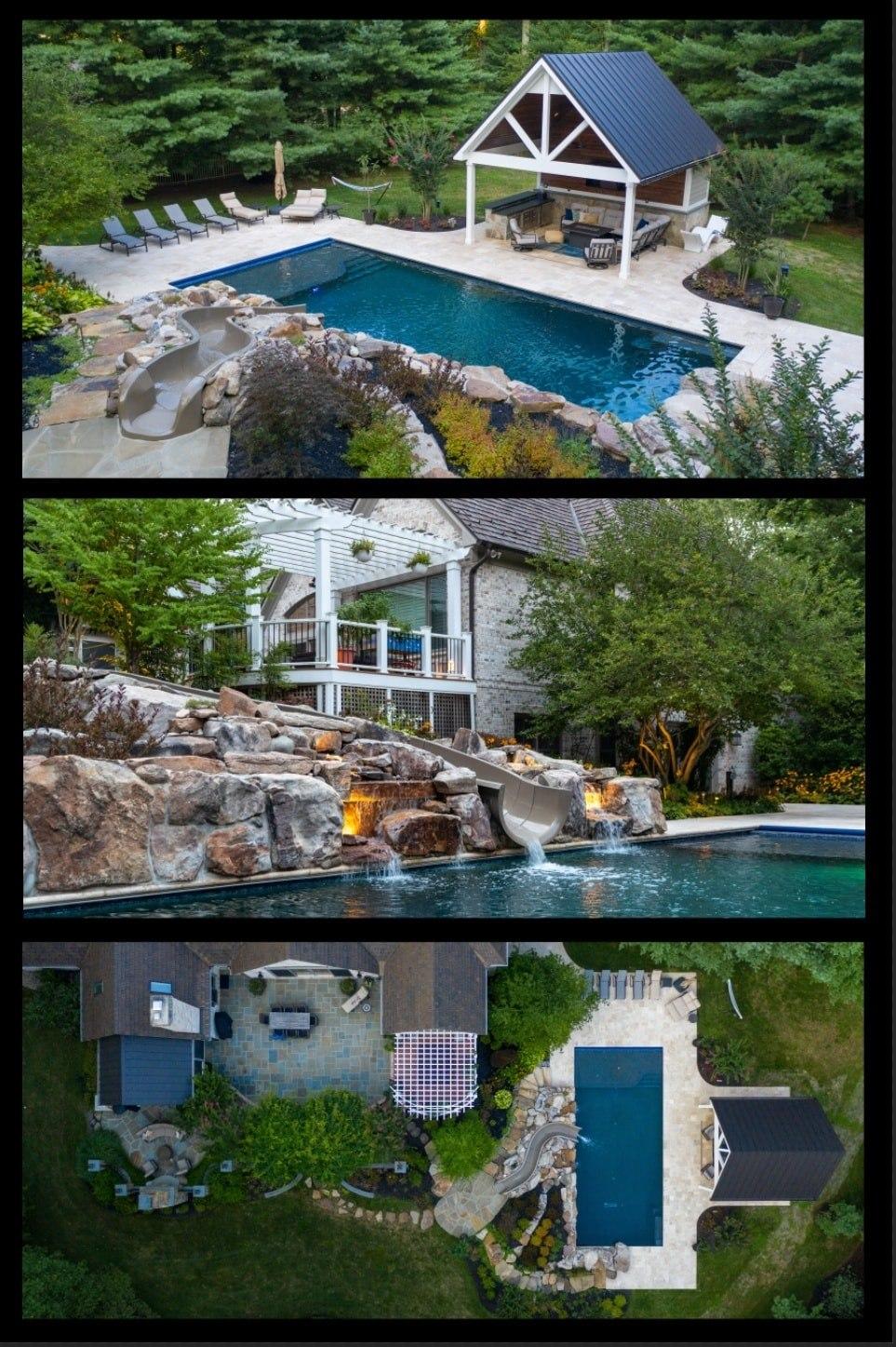 howard county swimming pool, pergola, fireplace