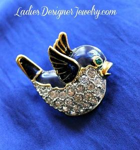 21b39f92481 Blue Bird Pave Rhinestone Gold Plate Pin Figural Vintage Broach Pins ...