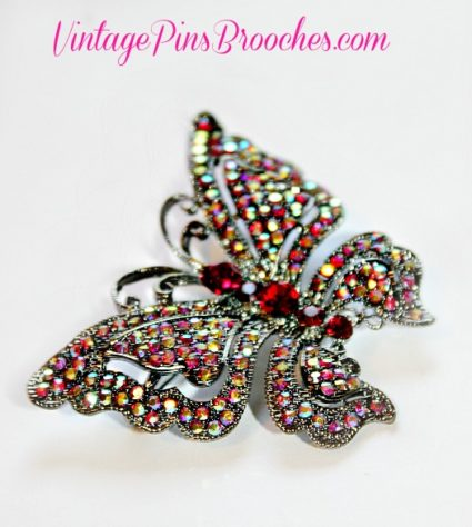 efa5762db7d Retro Vintage Style Red Pink Pave Aurora Borealis Rhinestone Butterfly Pin  Brooch Butterflies, Women's Ladies