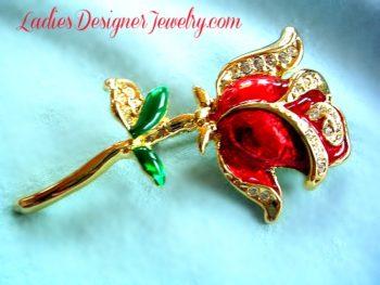 cd390b47b41 Vintage Art Deco Red Enamel Rose Flower Brooch Pin, Wedding Bridal Designer  Fashion Floral Jewelry