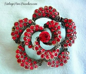 2425d9a685a Vintage Silver Plate Ruby Red Garnet Rose Flower Pin Brooch, Ladies Designer  Fashion Pins Roses
