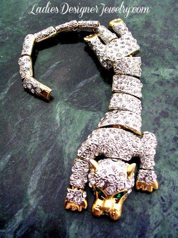 064da631329 Vintage Art Deco Tiger Shoulder Brooch Pin, Pave Diamond Crystal Emerald  Green Rhinestone Cat Brooches