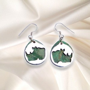 Save the Rhino - Rhino Head Earrings with Shepard Hooks