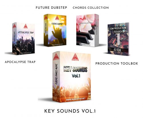 Rhino Star Key Sounds Vol 1 Bundle, 5 sample packs in a 50% off, trap, dubstep, edm, midi collection and edm production tool box.