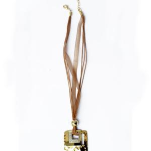 Amber Square Golden Necklace - RHIZMALL.PK Online Shopping Store.