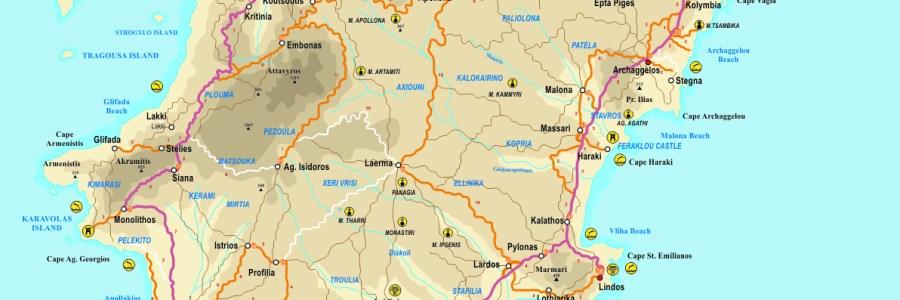 Rhodes en voiture – Itinéraires à Rhodes – Bus et Taxis à Rhodes