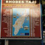 tarifs des taxis à Rhodes