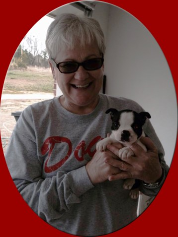 Allie, a Freckles & Waylon puppy gone to live with her new mommy, Elaine White, Brandon, MS