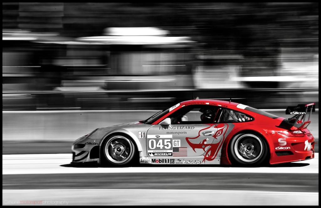 Rhone Motorsport Photography, Sebring, ALMS, 12 hours of Sebring, John Rhone, Nikon D700, Porsche GT3 RSR, Flying Lizard