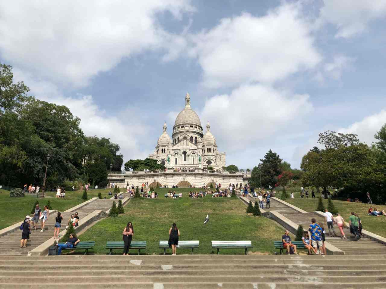 View of the Sacre Coeur from the bottom of the hill