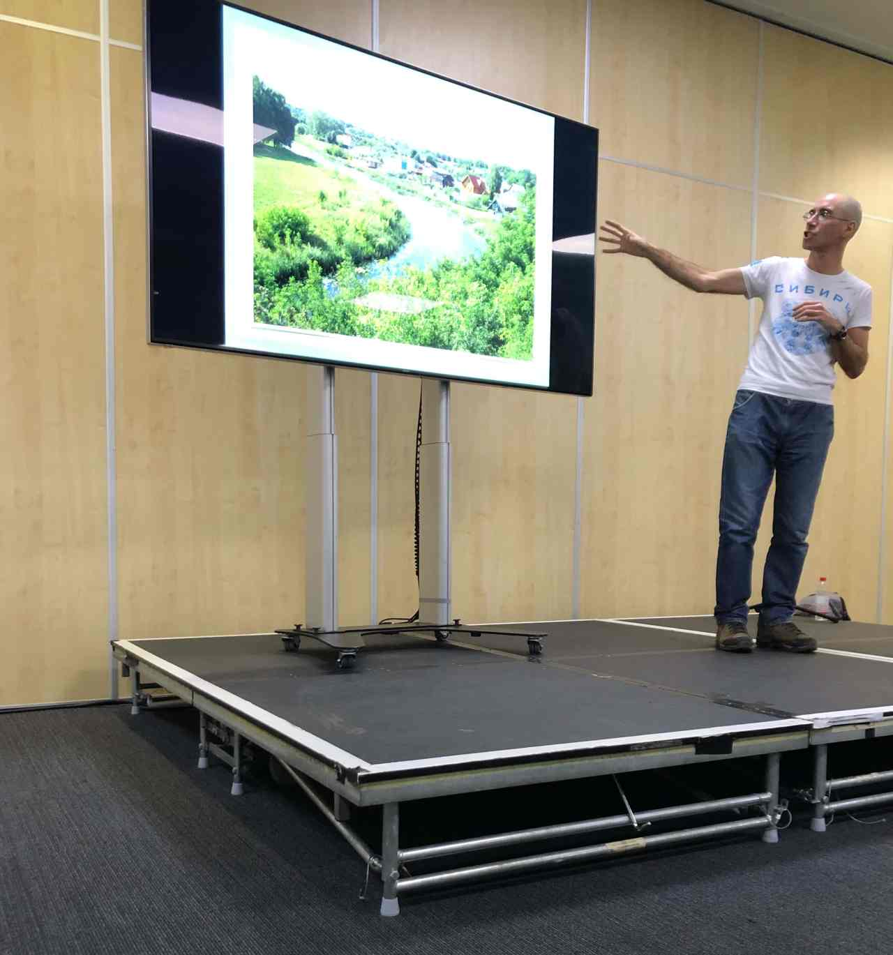 Dan McRohan giving a talk on Trans-Siberian rail travel