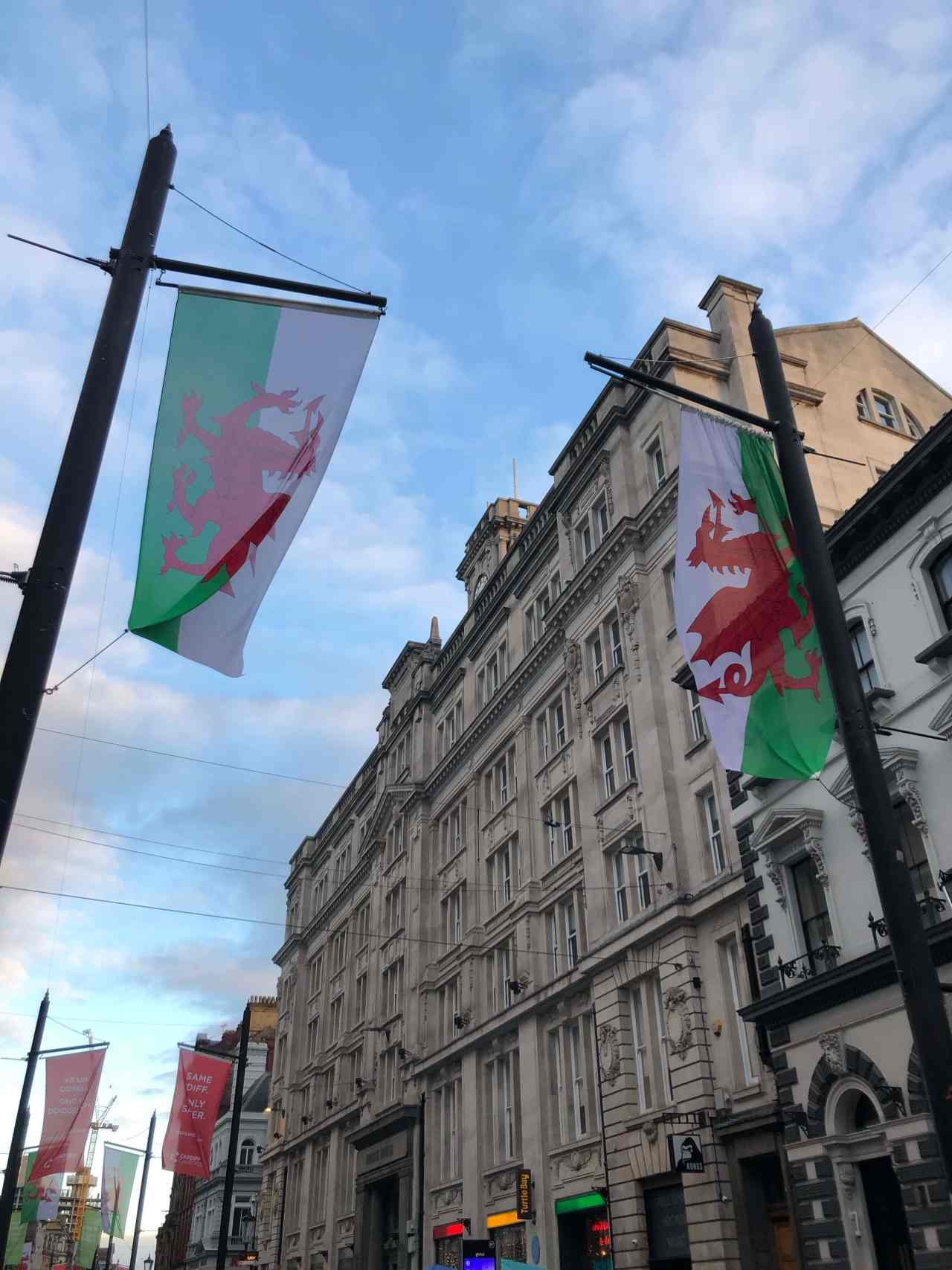 Welsh dragons on Cardiff high street