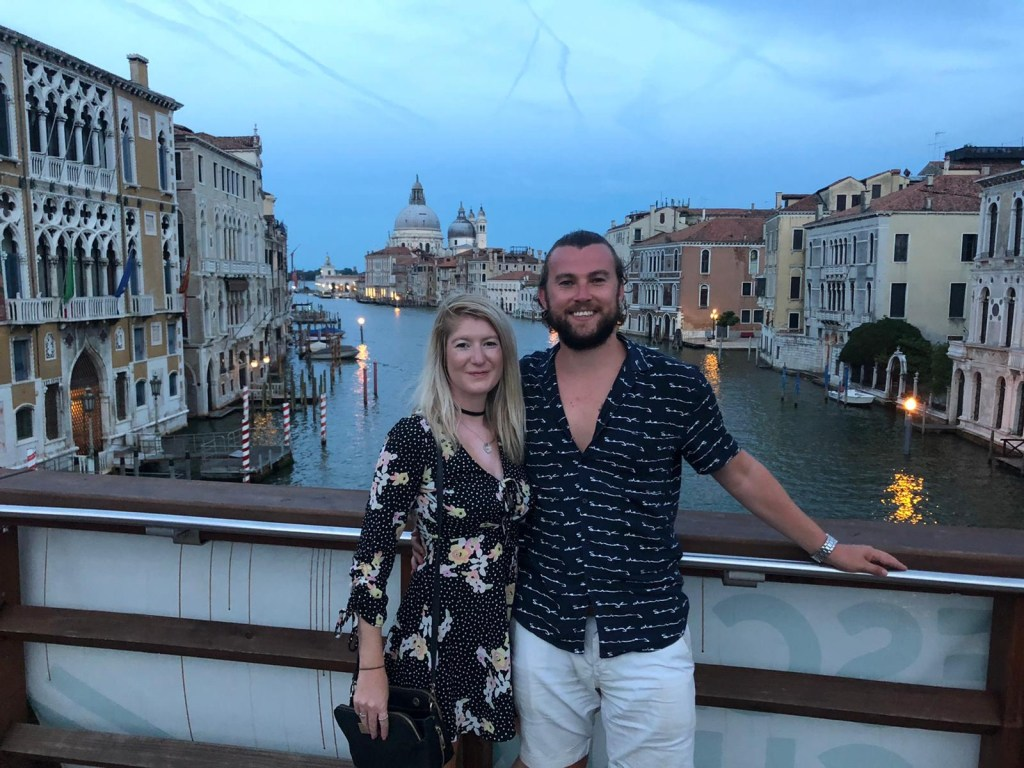 Venice grand canal couple photo