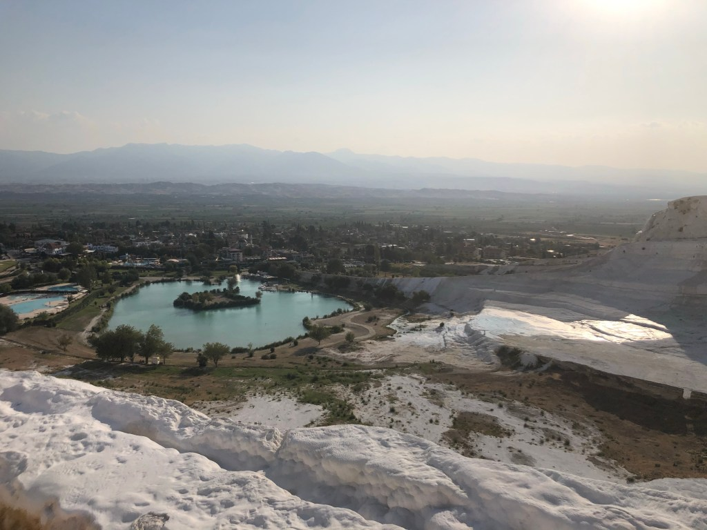 View from the pamukkale travertines
