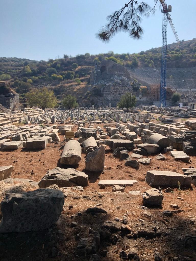 excavated columns Ephesus Turkey