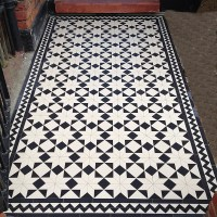 Victorian black and white mosaic tile front garden path ...
