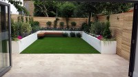 Travertine paving patio render block raised beds hardwood ...